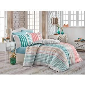 Комплект постельного белья Hobby home collection Евро, поплин, Stripe бирюзовый (1501001747) комплект белья wenge stripe blue mint евро наволочки 70x70 цвет бирюзовый