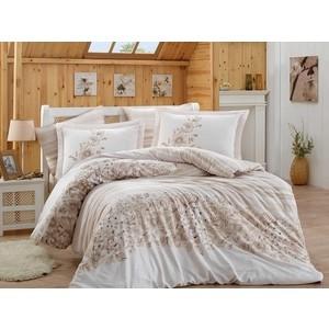 цена Комплект постельного белья Hobby home collection Евро, сатин, Serena бежевый (1501001371) онлайн в 2017 году