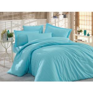цена Комплект постельного белья Hobby home collection Евро, сатин-жаккард, Stripe голубой (1501001616) онлайн в 2017 году