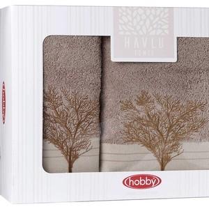цена Набор из 2 полотенец Hobby home collection Infinity (50x90/70x140) светло-коричневый (1501001830) онлайн в 2017 году