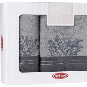 Набор из 2 полотенец Hobby home collection Infinity (50x90/70x140) серый (1501001832) полотенце ecotex джаз 50x90 серый jt 01 m серый charcoal