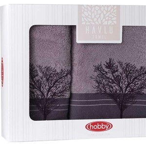 Набор из 2 полотенец Hobby home collection Infinity (50x90/70x140) фиолетовый (1501001833) цены
