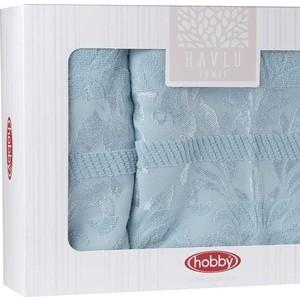 цена Набор из 2 полотенец Hobby home collection Versal (50x90/70x140) голубой (1501001822) онлайн в 2017 году