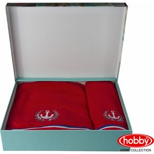 Набор из 2 полотенец Hobby home collection Maritim с вышивкой (50x90/70x140) красный (1501001402) цены