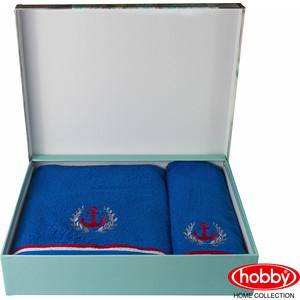 Набор из 2 полотенец Hobby home collection Maritim с вышивкой (50x90/70x140) синий (1501001400)