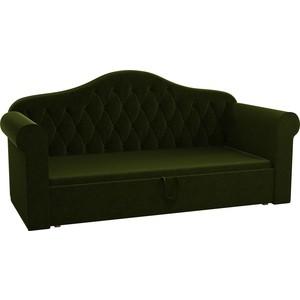 Детская кровать Мебелико Делюкс микровельвет зеленый