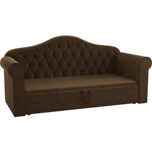 Детская кровать Мебелико Делюкс микровельвет коричневый