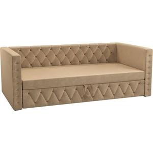 Детская кровать Мебелико Таранто микровельвет бежевый кровать мебелико ларго микровельвет бежевый