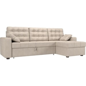 Угловой диван Мебелико Камелот рогожка бежевый правый угол фото