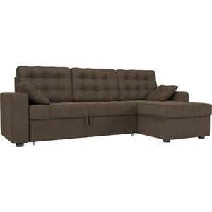 Угловой диван Мебелико Камелот рогожка коричневый правый угол