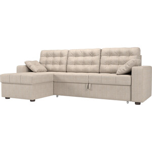 Угловой диван Мебелико Камелот рогожка бежевый левый угол