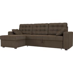 Угловой диван Мебелико Камелот рогожка коричневый левый угол