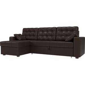 Угловой диван Мебелико Камелот эко-кожа коричневый левый угол