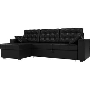 Угловой диван Мебелико Камелот эко-кожа черный левый угол
