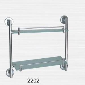 Полка стеклянная RainBowL Long прямая с ограничителем 2-этажная (D2202)