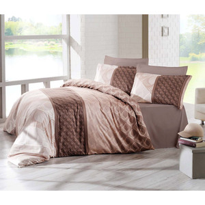 Комплект постельного белья Altinbasak Евро, сатин, Festa коричневый (256/23/CHAR001)