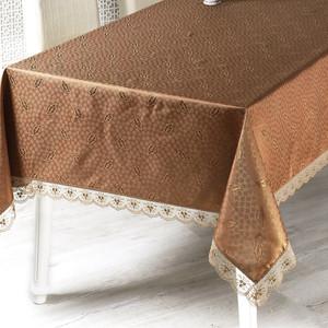 Скатерть Karna с гипюром Nihan 160х160 квадратная коричневый (860/2/CHAR003)