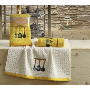 Набор кухонных полотенец Karna Lemon 45x65 2 штуки желтый V2 (2231/CHAR002)