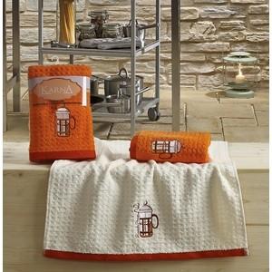 Набор кухонных полотенец Karna Lemon 45x65 2 штуки оранжевый V2 (2232/CHAR002)