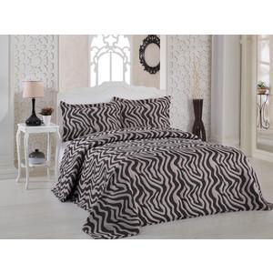 Покрывало Karna жаккард Zebra 240x260 +наволочки 50x70 см коричневый (2767/CHAR002) наволочки 2 штуки karna трикотажные acelya 70x70 2965 char002