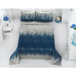 Покрывало Karna жаккард Florina 260x260 +наволочки 60x80 см синий- саксен (2770/CHAR008)