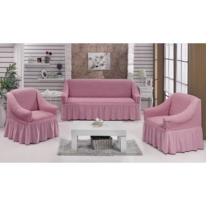 Набор чехлов для мягкой мебели 3 предмета Bulsan светло-розовый (1717/CHAR017) набор чехлов для мягкой мебели 3 предмета bulsan 1717 char011