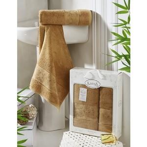 цена Набор из 2 полотенец Karna Pandora бамбук (50x90/70x140) горчичный (2197/CHAR003) онлайн в 2017 году