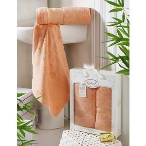 цена Набор из 2 полотенец Karna Pandora бамбук (50x90/70x140) коралловый (2197/CHAR007) онлайн в 2017 году
