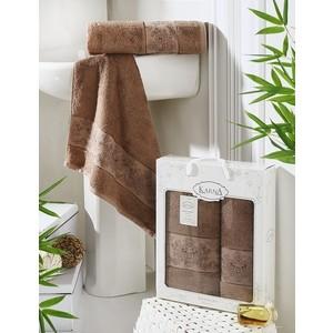 цена Набор из 2 полотенец Karna Pandora бамбук (50x90/70x140) коричневый (2197/CHAR008) онлайн в 2017 году