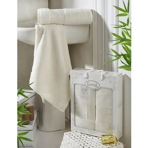 цена Набор из 2 полотенец Karna Pandora бамбук (50x90/70x140) кремовый (2197/CHAR010) онлайн в 2017 году