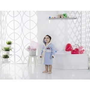 Халат детский Karna велюр с капюшоном Snop 2-3 Лет голубой (2820/CHAR002) 3м 2820