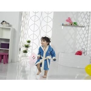 Халат детский Karna велюр с капюшоном Snop 4-5 Лет синий- саксен (2821/CHAR005)