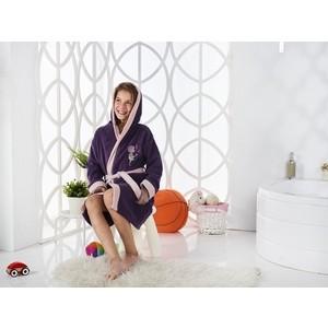 Халат подростковый Karna велюр с капюшоном Snop 8-9 Лет фиолетовый (2823/CHAR005)