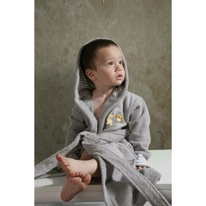 Халат детский Karna махровый с капюшоном Teeny серый 4-5 Лет (912/5/CHAR002) халат махровый actuel темно серый размер l
