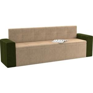 Кухонный диван Мебелико Династия микровельвет бежево-зеленый
