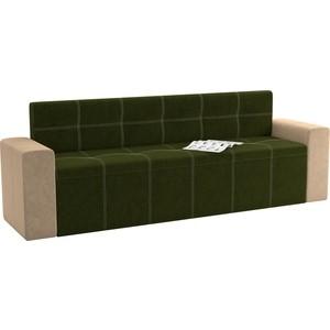 Кухонный диван АртМебель Династия микровельвет зелено-бежевый