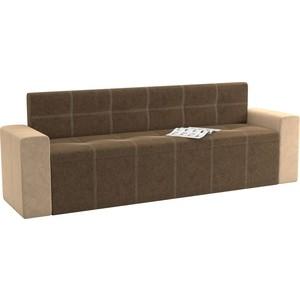 Кухонный диван Мебелико Династия микровельвет коричнево-бежевый