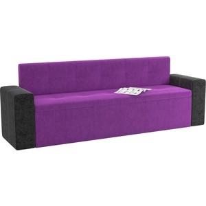 Кухонный диван Мебелико Династия микровельвет фиолетово-черный