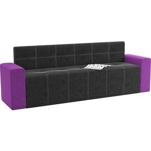 Кухонный диван Мебелико Династия микровельвет черно-фиолетовый