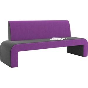 Кухонный диван АртМебель Кармен микровельвет черно-фиолетовый