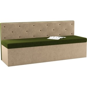 Кухонный диван Мебелико Салвадор микровельвет зелено-бежевый
