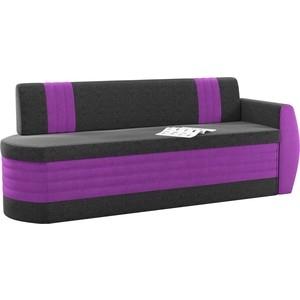 Кухонный диван Мебелико Токио ОД микровельвет черно-фиолетовый правый