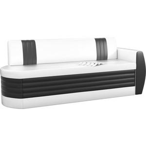Кухонный диван Мебелико Токио ОД эко-кожа бело-черный правый кушетка мебелико принц эко кожа бело черный левый