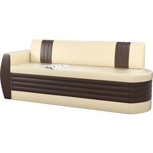 Кухонный диван АртМебель Токио ОД эко-кожа бежево-коричневый левый фото