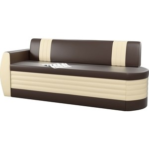 Кухонный диван Мебелико Токио ОД эко-кожа коричнево-бежевый левый