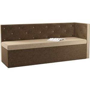 Кухонный угловой диван Мебелико Салвадор микровельвет бежево-коричневый правый угол фото