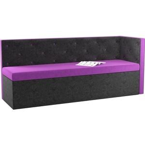 Кухонный угловой диван Мебелико Салвадор микровельвет фиолетово-черный правый угол кухонный угловой диван мебелико кристина микровельвет фиолетово черный правый