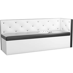 Кухонный угловой диван АртМебель Салвадор эко-кожа черно-белый правый угол