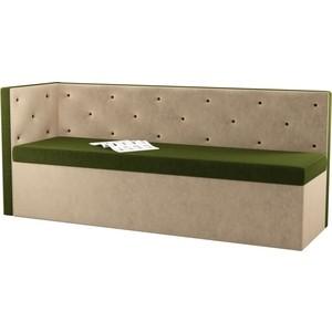 Кухонный угловой диван Мебелико Салвадор микровельвет зелено-бежевый левый угол диван угловой мебелико атлантис микровельвет зелено бежевый левый