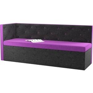 Кухонный угловой диван Мебелико Салвадор микровельвет фиолетово-черный левый угол